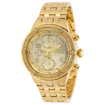 Invicta Damen Chronograph Uhr - Angel Gold Tone Oyster Dial Armband   29527
