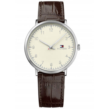 Tommy Hilfiger Men's Quartz Watch - James Beige Dial Brown Leather Strap | 1791338
