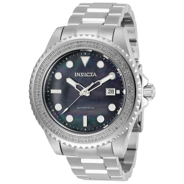 Invicta Men's Diamond Watch - Pro Diver Black MOP Dial Silver Tone Bracelet | 30325