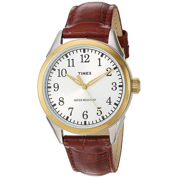 Timex Men's Quartz Watch - Briarwood Terrace Silver Tone Dial Brown Strap | TW2P99500