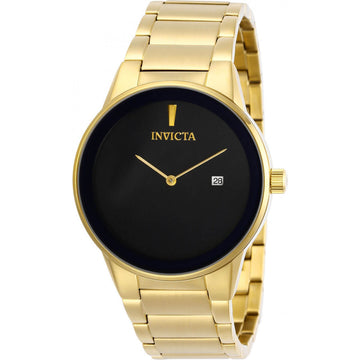 Invicta Men's Quartz Watch - Specialty Black Dial Yellow Gold Bracelet | 29470