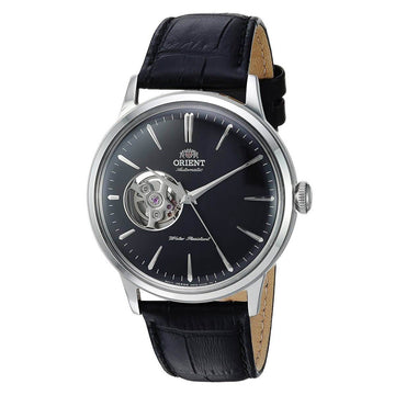 Orient Men's Automatic Watch - Bambino Open Heart Black Leather Strap | AG0004B10A