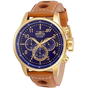 Invicta Men's Chrono Watch - S1 Rally Blue Dial Light Brown Leather Strap | 30917