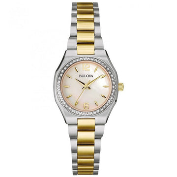 Bulova 98R204 Women's Diamond Gallery MOP White Dial Two Tone Bracelet Watch