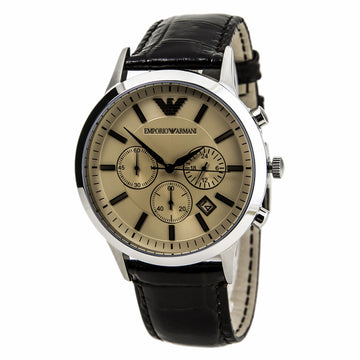 Emporio Armani Men's Chrono Watch - Classic Beige Dial Brown Leather Strap | AR2433