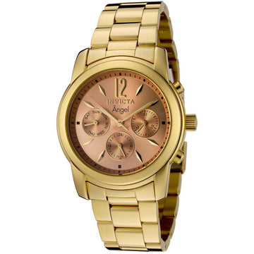 Invicta 0464 Women's Angel Rose Gold Sunray Dial Gold Plated Stainless Steel Bracelet GMT Watch