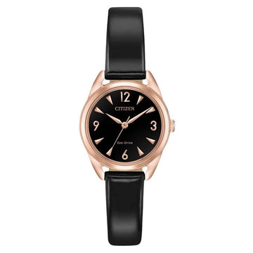 Citizen Women's Strap Watch - LTR Black Dial Eco-Drive Black Leather | EM0688-01E
