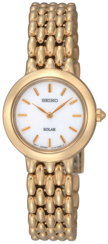 Seiko SUP022 Women's Gold Tone Stainless Steel Silver Dial Watch