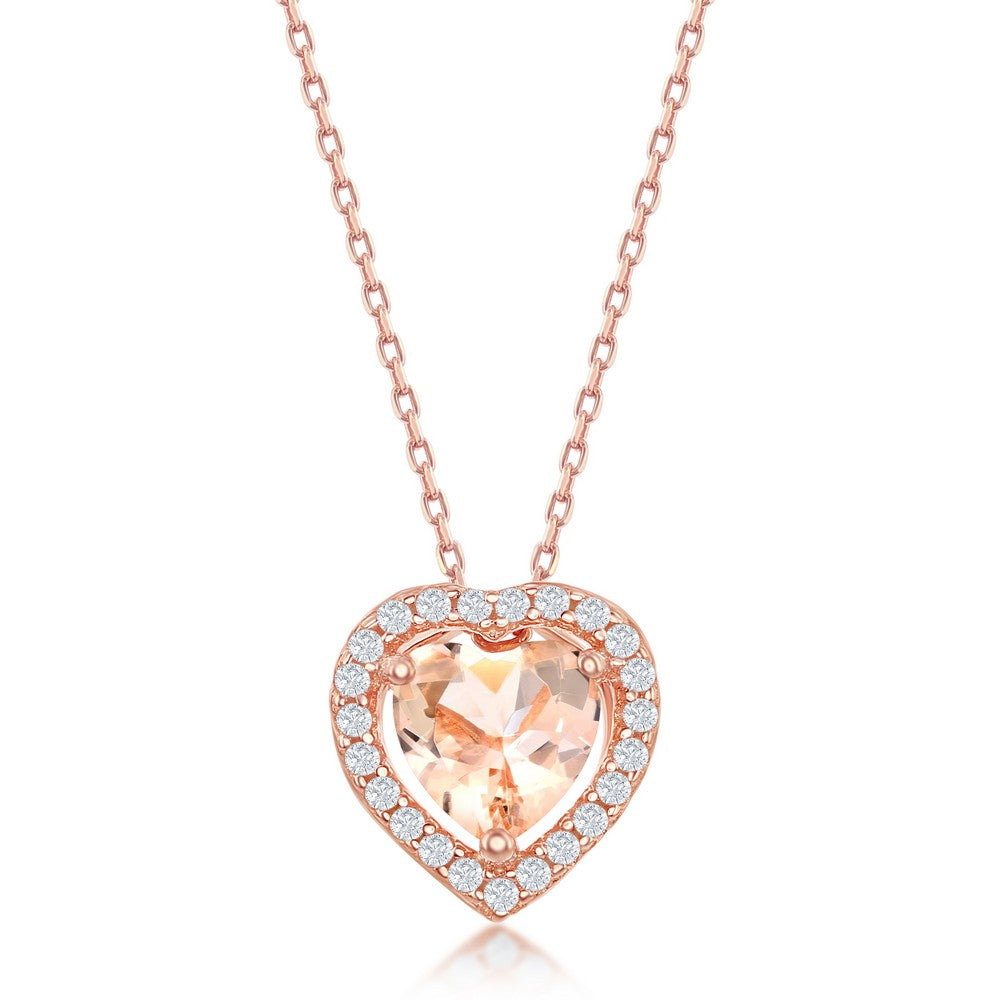 Sterling Silver Heart Morganite CZ Border Pendant