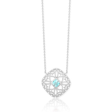 Sterling Silver Blue Topaz Square Diamond Necklace