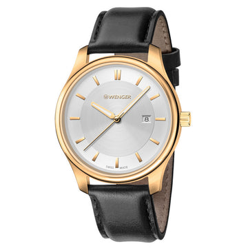 Wenger 01.1421.101 Women's City Classic Black Leather Strap Swiss Quartz Silver Dial Date Watch