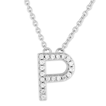 "Sterling Silver Micro Pave ""P"" Pendant Necklace"