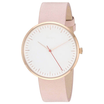 Fossil Women's Quartz Watch - The Essentialist White Dial Pink Leather Strap | ES4426