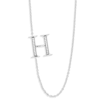 "Sterling Silver Off-Center CZ ""H"" Necklace"