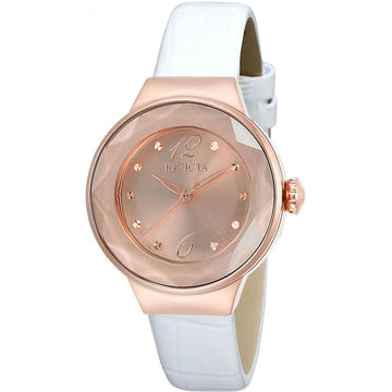 Invicta Women's Quartz Watch - Angel Rose Gold Tone Dial White Leather Strap | 29785
