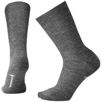 Smartwool Women's Crew Socks - Cable II, Medium Gray | SW0SW672-052-M