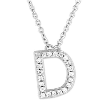 "Sterling Silver Micro Pave ""D"" Pendant Necklace"
