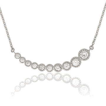 Sterling Silver Graduating CZ Curved Necklace