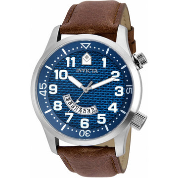 Invicta Men's Quartz Watch - Specialty Blue Dial Brown Leather Strap | 30820