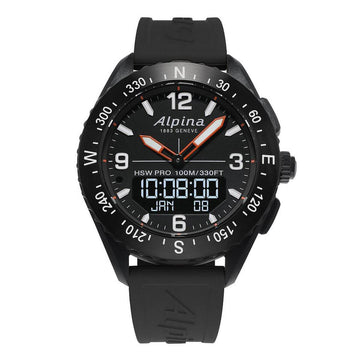 Alpina Men's Strap Smartwatch - AlpinerX HSW Compass Black Rubber | AL-283LBB5AQ6