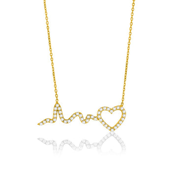 Sterling Silver Gold Plated CZ Heart Heartbeat Necklace