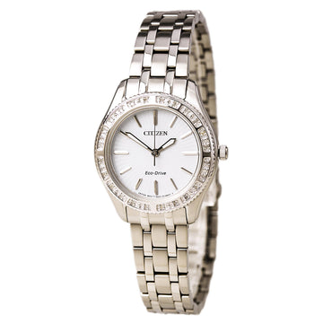 Citizen Women's Diamond Watch - Carina Eco Drive White Dial Steel Bracelet