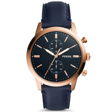 Fossil Men's Chronograph Watch - Townsman Navy Blue Leather Strap | FS5436
