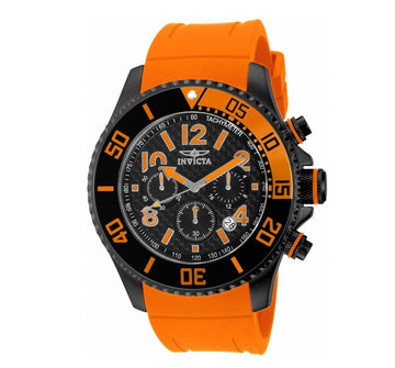 Invicta 13733 Men's Pro Diver Black Carbon Fiber Dial Orange Polyurethane Strap Chronograph Watch