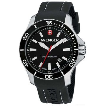 Wenger 0641.103 Men's Sea Force White Accents Black Dial Silicon Rubber Strap Watch