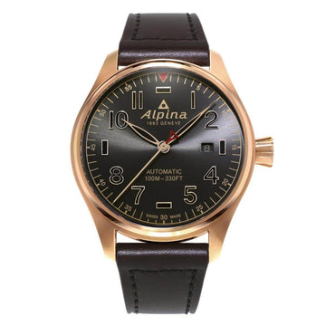Alpina Men's Strap Watch - Startimer Pilot Automatic Brown Leather Date | AL-525GG4S4