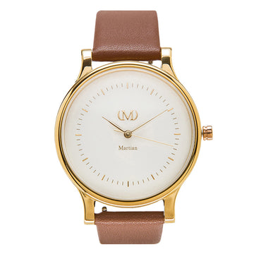 Martian MPS01CL054 Women's Luggage Brown Strap Quartz CL05 mVip Cream Dial Watch