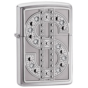 Zippo 20904 Classic Bling Emblem High Polish Chrome Swarovski Crystal Windproof Lighter