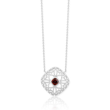 Sterling Silver Garnet Gemstone Diamond Necklace