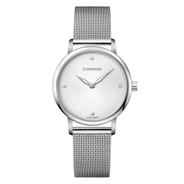 Wenger 01.1721.107 Women's Urban Donnissima Silver Dial Stainless Steel Mesh Bracelet Watch