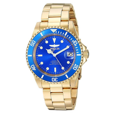 Invicta Men's Automatic Watch - Pro Diver Blue Dial Yellow Gold Steel | 24763