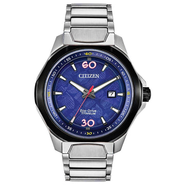 Citizen Men's Eco-Drive Watch - Marvel Blue Dial Titanium Bracelet | AW1548-86W