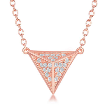 Sterling Silver Rose Gold Pyramid CZ Necklace
