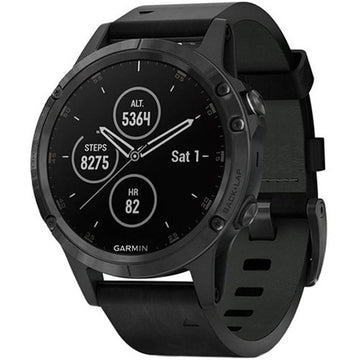 Garmin Unisex Smartwatch - fenix 5 Plus Heart Rate GPS Black Strap | 010-01988-06