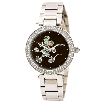 Invicta Women's Stainless Steel Watch - Disney Quartz Crystal Black Dial | 23780