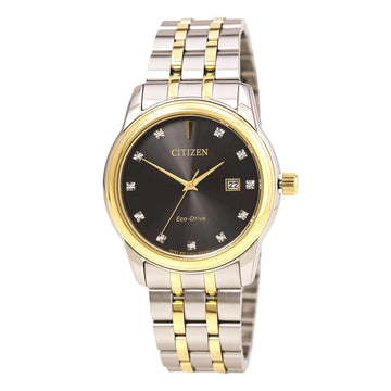 Citizen BM7344-54E Men's Diamond Eco-Drive Two Tone Steel Black Dial Date Watch
