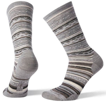 Smartwool Women's Socks - Ethno Graphic, Light Gray-Black, Medium | SW003901-026-M
