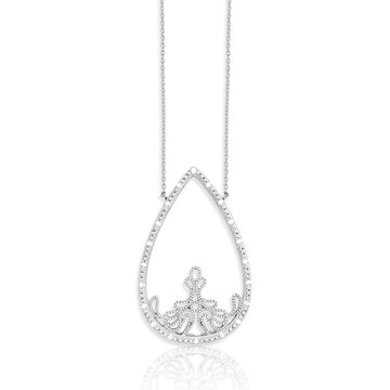 Sterling Silver Open Teardrop Diamonds Necklace