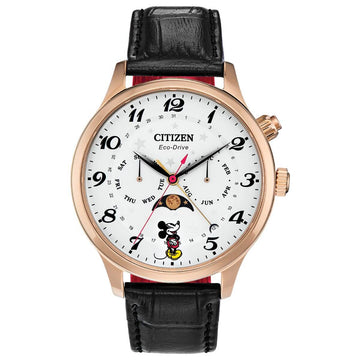 Citizen Men's Eco-Drive Watch - Disney Mickey Mouse White Dial Strap | AP1053-15W