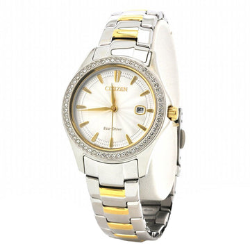Citizen Women's Eco Drive Watch Gift Set - Two Tone Yellow Gold Steel Silver Dial