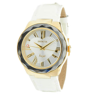 Invicta 22540 Women's White Leather Strap Silver Dial Watch