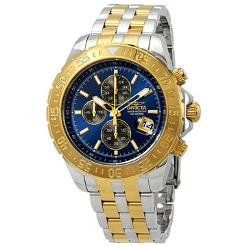 Invicta Herren Chronograph Uhr - Aviator Blue and Charcoal Dial Armband   22989