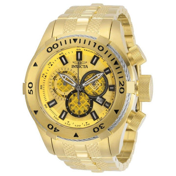 Invicta Men's Chronograph Watch - Bolt Gold Tone Dial Plated Steel Bracelet | 29745