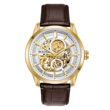 Bulova Men's Leather Strap Watch - Classic Automatic Semi-Skeleton Dial | 97A138