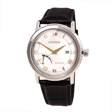 Citizen Men's Leather Strap Watch - Eco-Drive Power Reserve Silver Dial | AW7020-00A