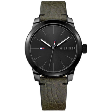 Tommy Hilfiger Men's Quartz Watch - Denim Black Dial Green Leather Strap | 1791395